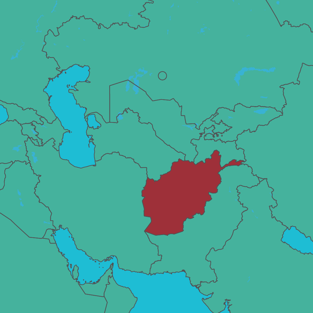 map of Afghanistan in Asia
