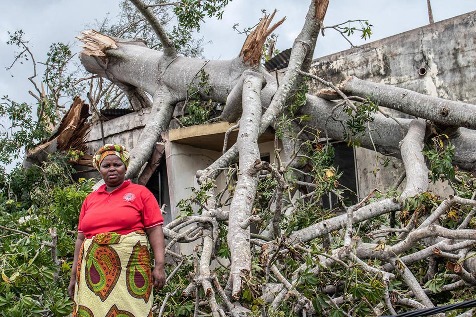 Woman rescued after Cyclone Kenneth hit Mozambique