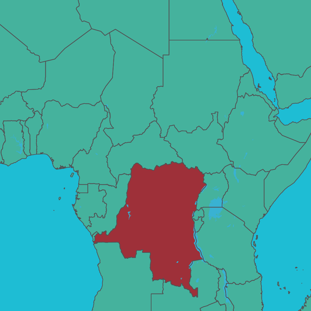 map of DRC in africa