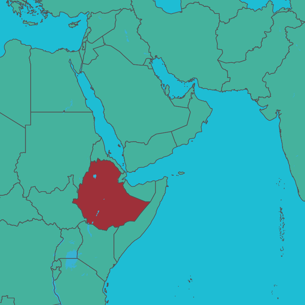map of Ethiopia in Africa