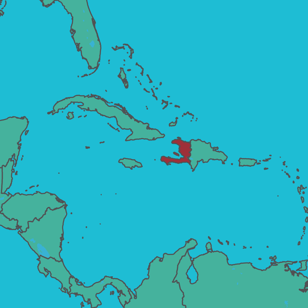 map of Haiti in Central America