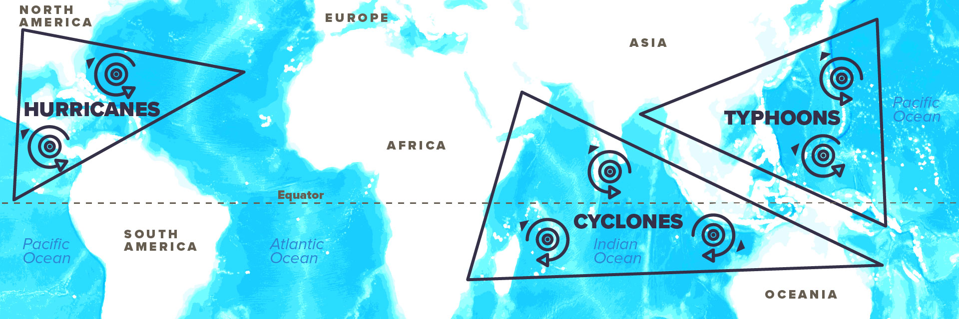 Cyclones, Hurricanes and Typhoons map