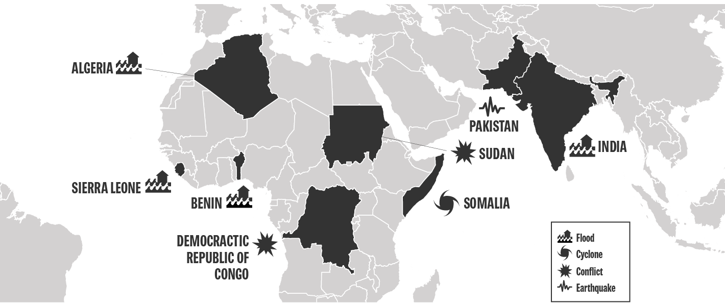 map of where the Canadian Humanitarian Assistance Fund (CHAF) was used in 2015