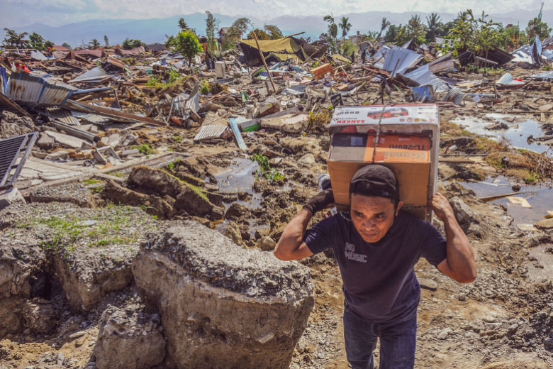 Destroyed homes, Palu, after Indonesia quake and tsunami