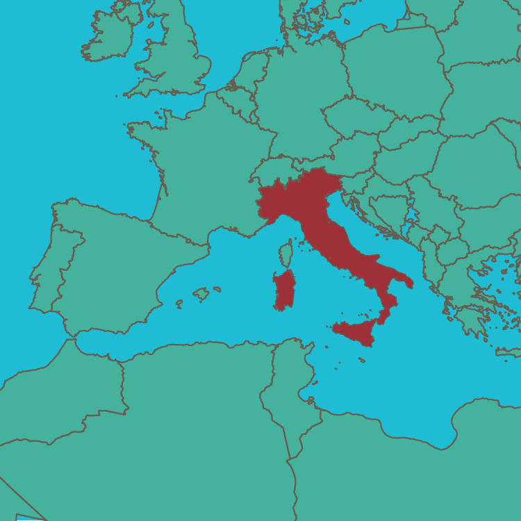 map Italy in Europe