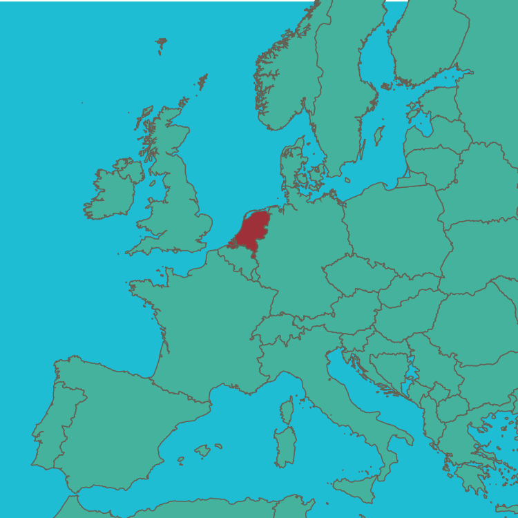 map Netherlands in Europe