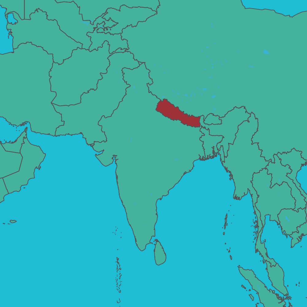 map of Nepal in Asia