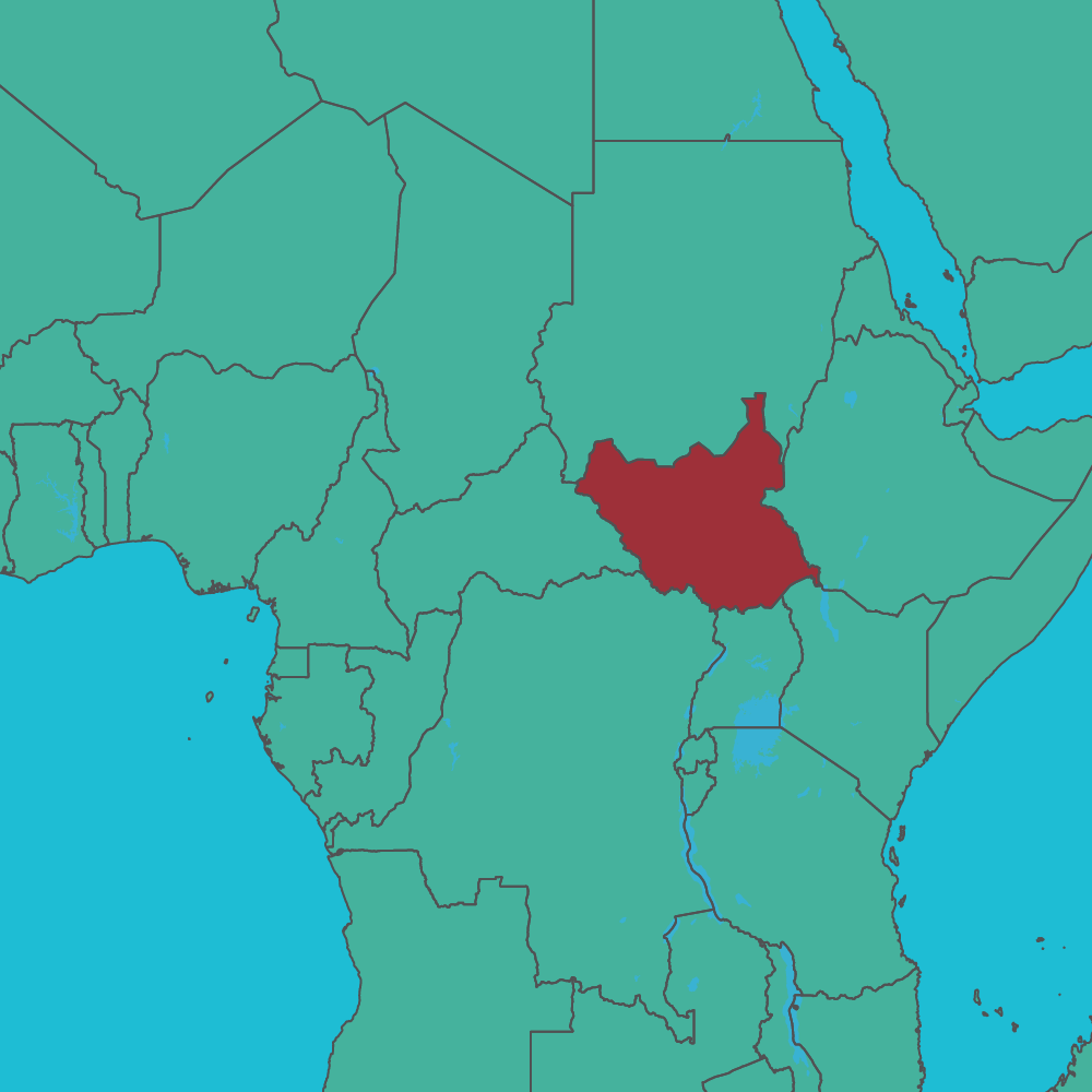 map of South Sudan in Africa