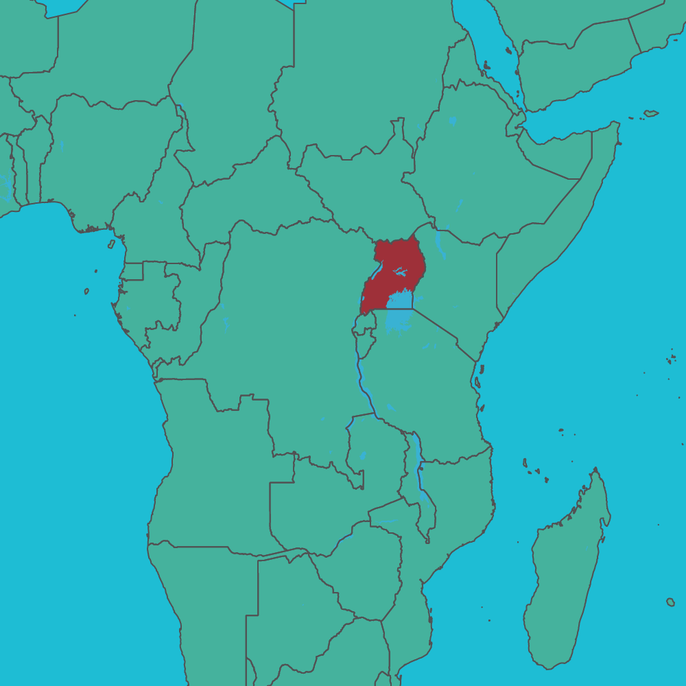 map of uganda in africa