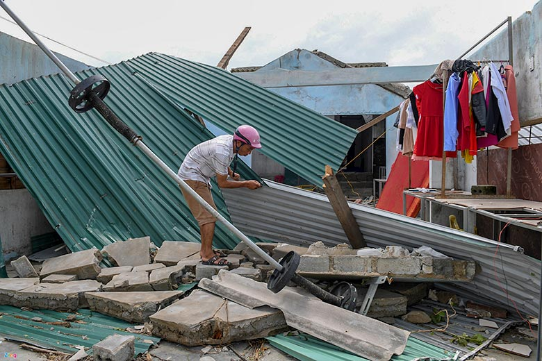 Houses destroyed by the typhoon in Vietnam
