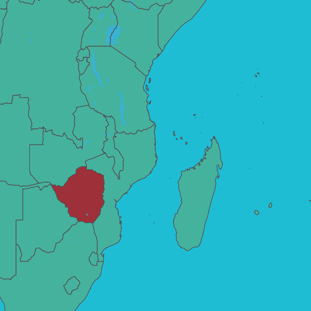 map of Zimbabwe in Africa